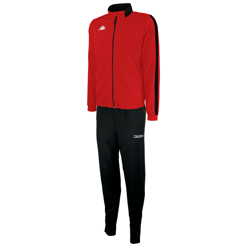 Kappa Salcito tracksuit in red. Black contrast mesh panel down the sleeve.