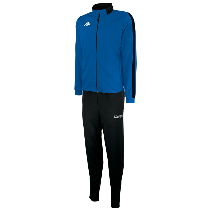Kappa Salcito tracksuit in blue nautic (royal blue). Black contrast mesh panel down the sleeve.
