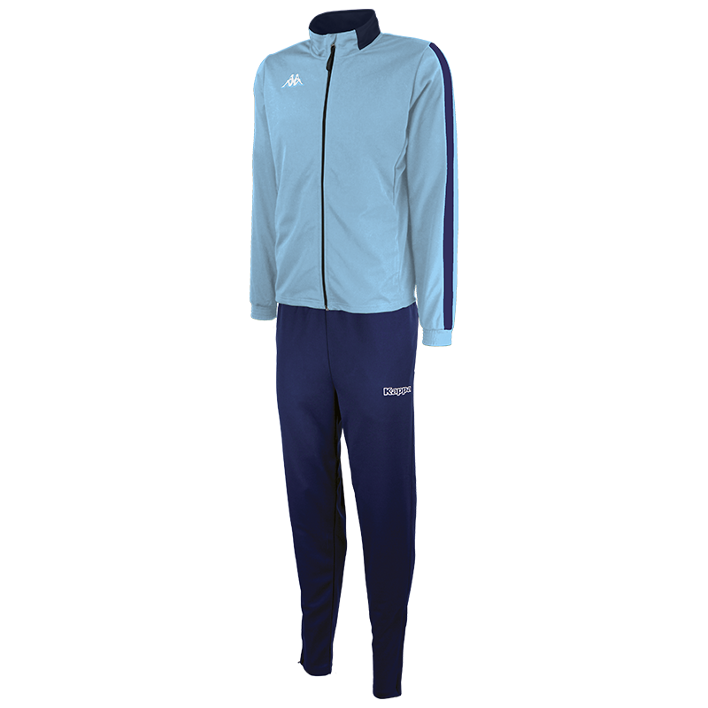 Kappa Salcito tracksuit in blue light (sky blue). Blue marine (navy) contrast mesh panel down the sleeve.