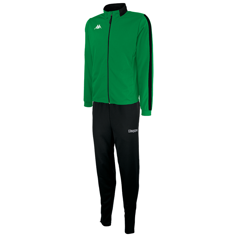 Kappa Salcito tracksuit in green. Black contrast mesh panel down the sleeve.