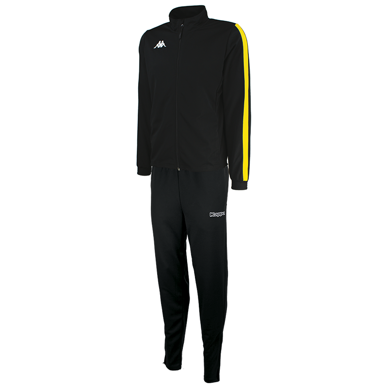 Kappa Salcito tracksuit in black. Yellow contrast mesh panel down the sleeve.
