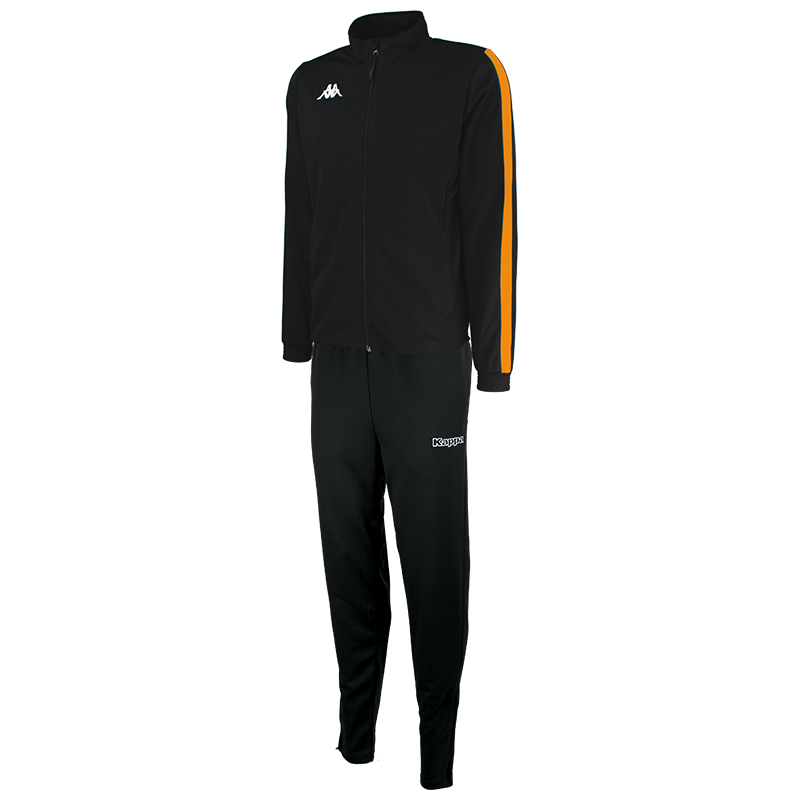 Kappa Salcito tracksuit in black. Orange contrast mesh panel down the sleeve.