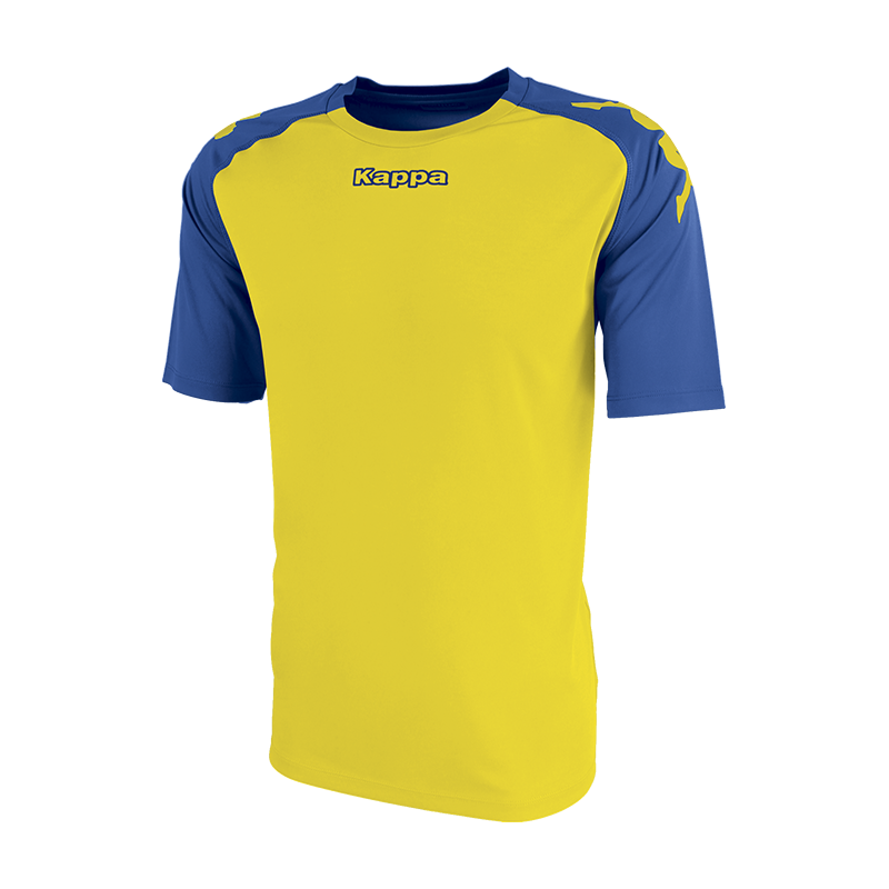 Kappa Paderno shirt in yellow with contrast raglan sleeves in blue nautic with printed black Omini on the shoulders. Printed Kappa lettering on the chest.