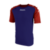 Kappa Paderno shirt in blue marine (navy) with contrast raglan sleeves in red with printed white Omini on the shoulders. Printed Kappa lettering on the chest.