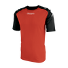 Kappa Paderno shirt in red with contrast raglan sleeves in black with printed white Omini on the shoulders. Printed Kappa lettering on the chest.