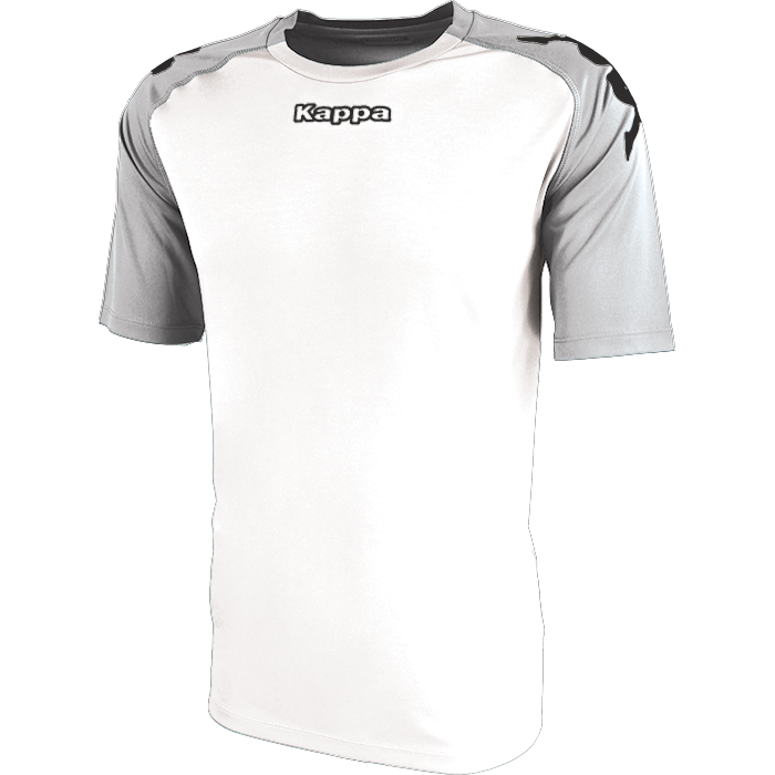 Kappa Paderno shirt in white with contrast raglan sleeves in grey ash with printed black Omini on the shoulders. Printed Kappa lettering on the chest.