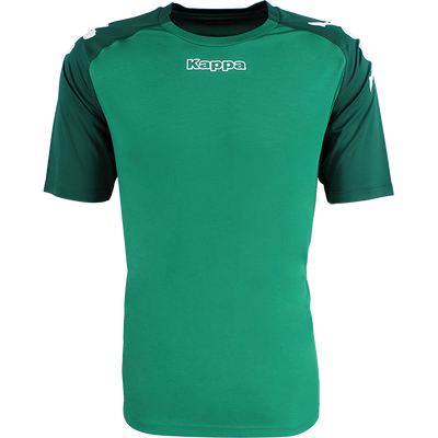 Kappa Paderno shirt in green with contrast raglan sleeves in Green Galapagos with printed white Omini on the shoulders. Printed Kappa lettering on the chest.