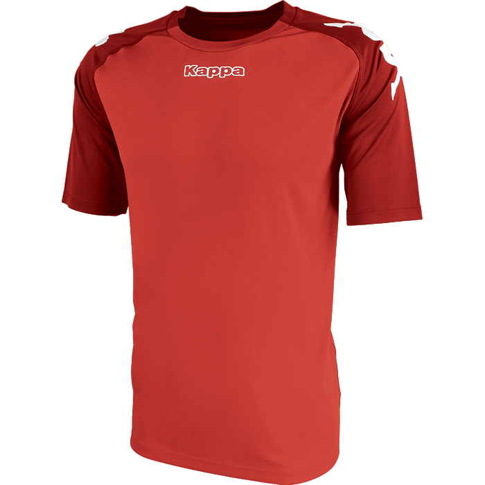 Kappa Paderno shirt in red with contrast raglan sleeves in dark red with printed white Omini on the shoulders. Printed Kappa lettering on the chest.