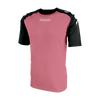 Kappa Paderno shirt in pink with contrast raglan sleeves in black with printed white Omini on the shoulders. Printed Kappa lettering on the chest.