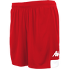 Kappa Paggo short in red with white contrast yoke on bottom side and white printed Omini on leg