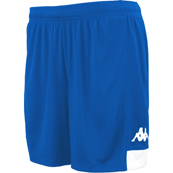 Kappa Paggo short in blue nautic (royal) with white contrast yoke on bottom side and white printed Omini on leg