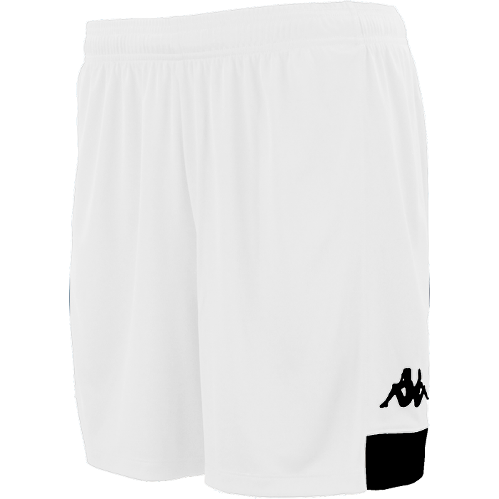 Kappa Paggo short in white with black contrast yoke on bottom side and black printed Omini on leg