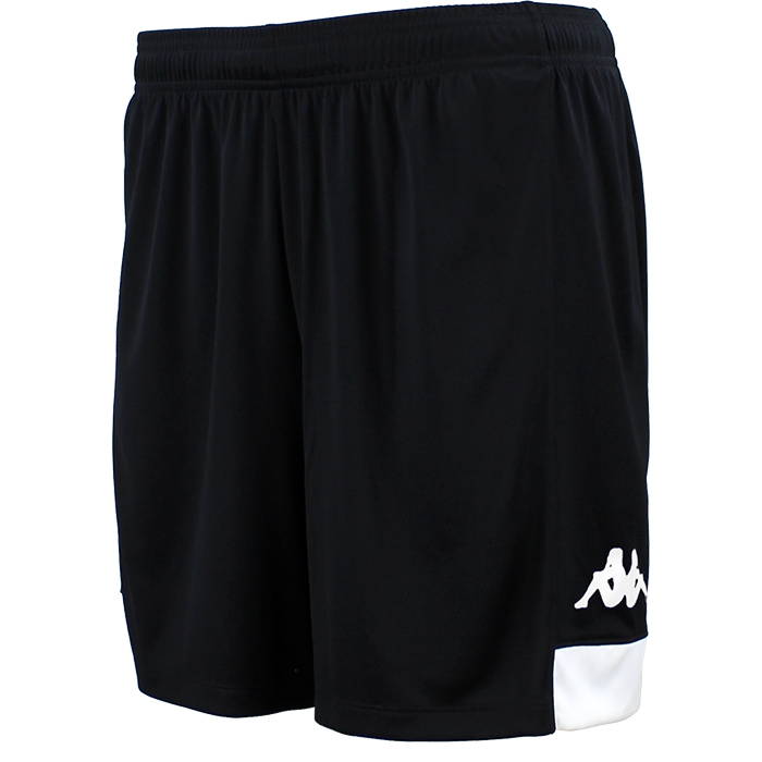 Kappa Paggo short in black with white contrast yoke on bottom side and white printed Omini on leg