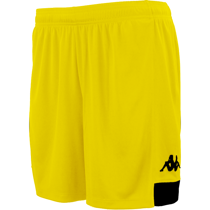 Kappa Paggo short in yellow with black contrast yoke on bottom side and black printed Omini on leg