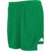 Kappa Paggo short in green with white contrast yoke on bottom side and white printed Omini on leg