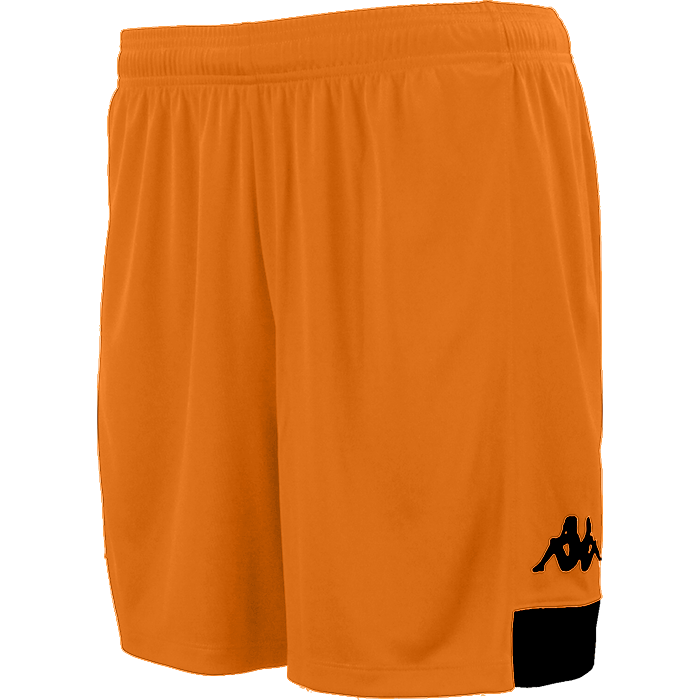 Kappa Paggo short in orange with black contrast yoke on bottom side and black printed Omini on leg
