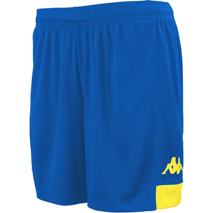 Kappa Paggo short in blue nautic (royal) with yellow contrast yoke on bottom side and yellow printed Omini on leg