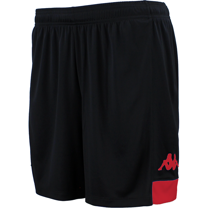 Kappa Paggo short in black with red contrast yoke on bottom side and red printed Omini on leg
