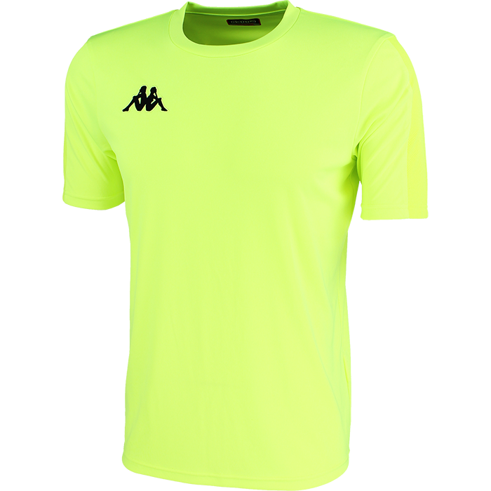 Kappa Rovigo short sleeve shirt in yellow fluo with black embroidered Omini on the chest.