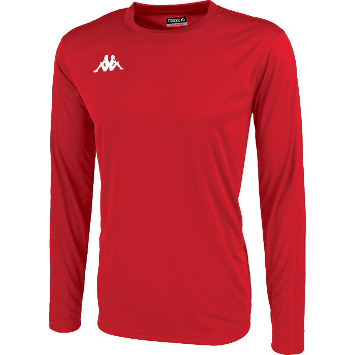 Kappa Rovigo long sleeve shirt in red with white embroidered Omini on the chest.