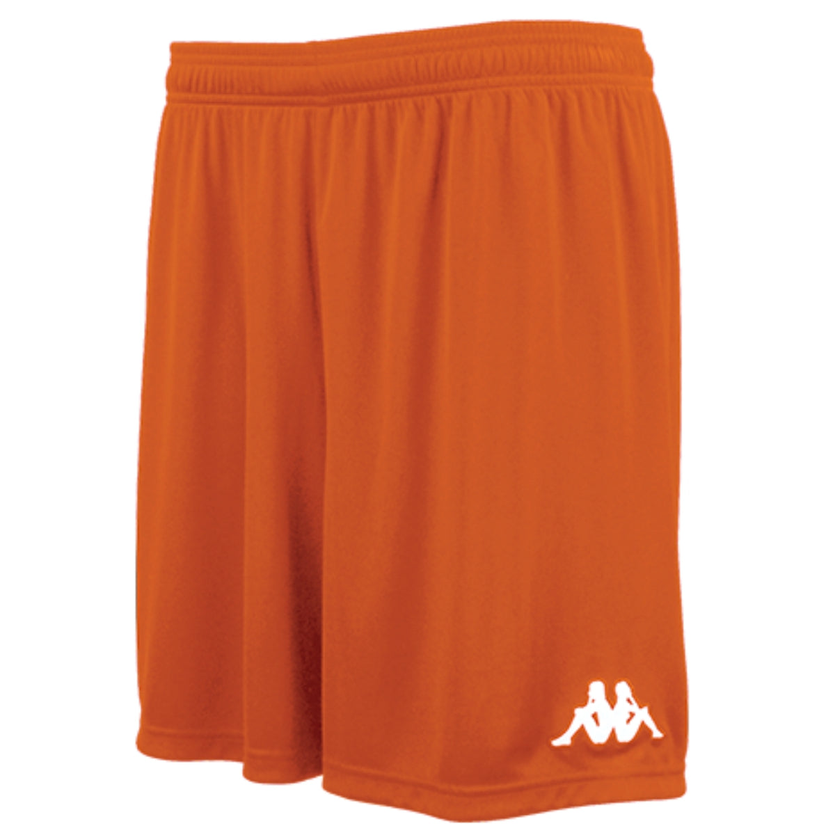 Kappa Vareso match short in orange flame with white embroidered Omini on the left leg.