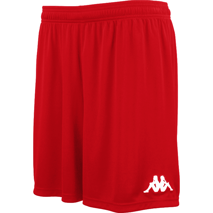 Kappa Vareso match short in red with white embroidered Omini on the left leg.