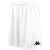 Kappa Vareso match short in white with black embroidered Omini on the left leg.