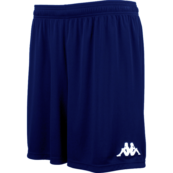 Kappa Vareso match short in blue marine with white embroidered Omini on the left leg.