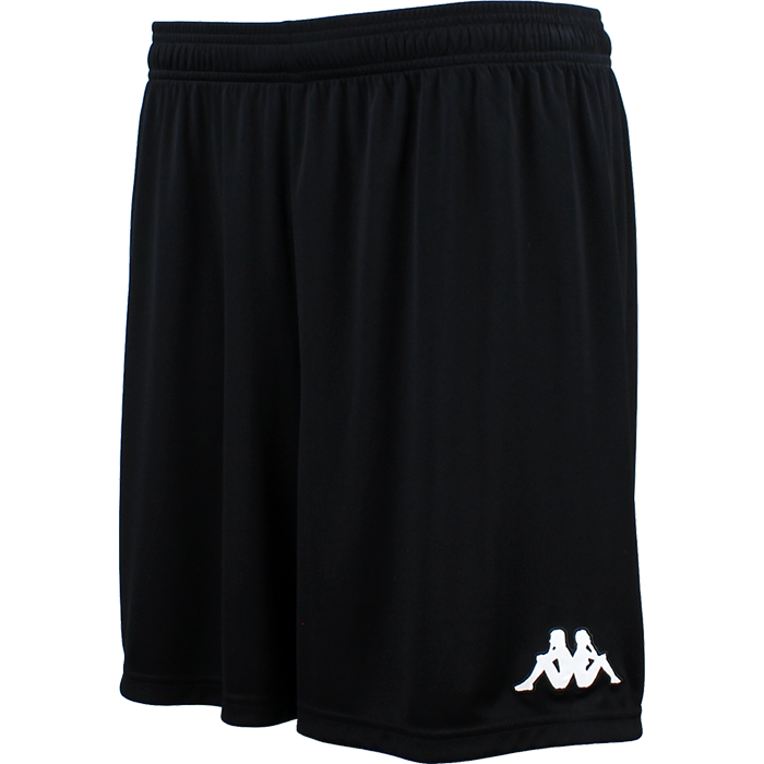 Kappa Vareso match short in black with white embroidered Omini on the left leg.