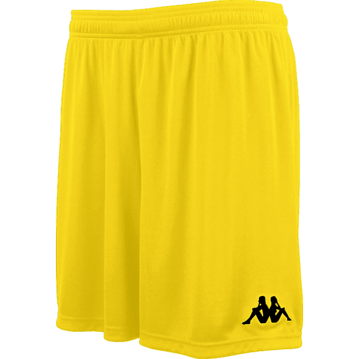 Kappa Vareso match short in yellow with black embroidered Omini on the left leg.