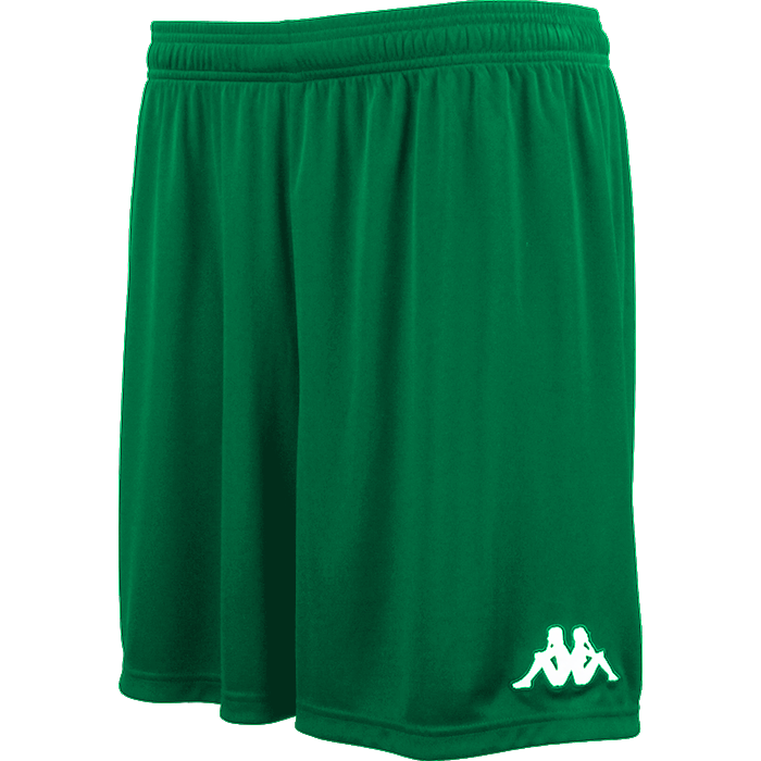 Kappa Vareso match short in green with white embroidered Omini on the left leg.