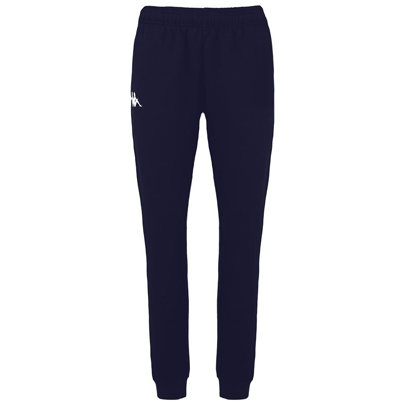 Kappa Bacena woman pant, slim fit in blue marine (navy) with embroidered white Omini on the right leg.