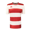 Kappa Casernhor Match shirt in short sleeve with red and white horizontal stripes and red Omini logo printed on the chest, plain white sleeves