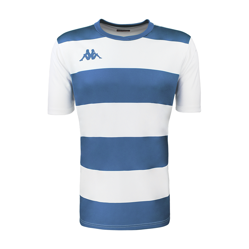Kappa Casernhor Match shirt in short sleeve with blue nautic (royal blue) and white horizontal stripes and blue nautic Omini logo printed on the chest