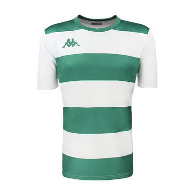 Kappa Casernhor Match shirt in short sleeve with green and white horizontal stripes and green Omini logo printed on the chest