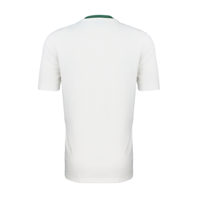 Rear of White and Green Kappa Casernhor short sleeve match shirt showing white plain back and sleeves