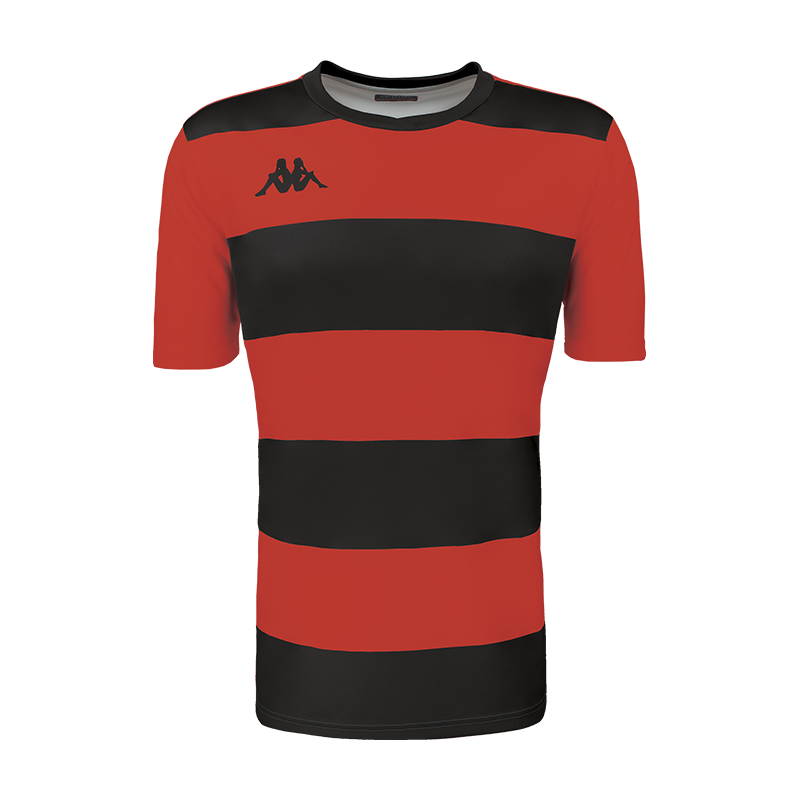 Kappa Casernhor Match shirt in short sleeve with red and black horizontal stripes and black Omini logo printed on the chest