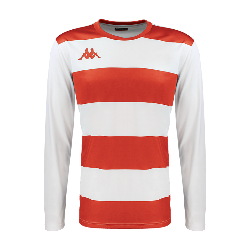 Kappa Casernhor Match shirt in long sleeve with red and white horizontal stripes and red Omini logo printed on the chest, plain white sleeves