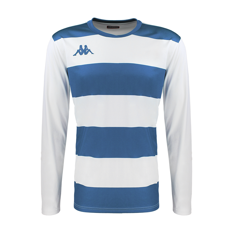 Kappa Casernhor Match shirt in long sleeve with blue nautic (royal blue) and white horizontal stripes and blue nautic Omini logo printed on the chest