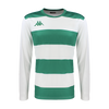 Kappa Casernhor Match shirt in long sleeve with green and white horizontal stripes and green Omini logo printed on the chest