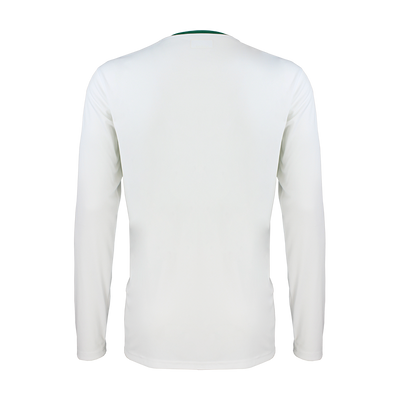 Rear of White and Green Kappa Casernhor long sleeve match shirt showing white plain back and sleeves