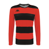 Kappa Casernhor Match shirt in long sleeve with red and black horizontal stripes and black Omini logo printed on the chest
