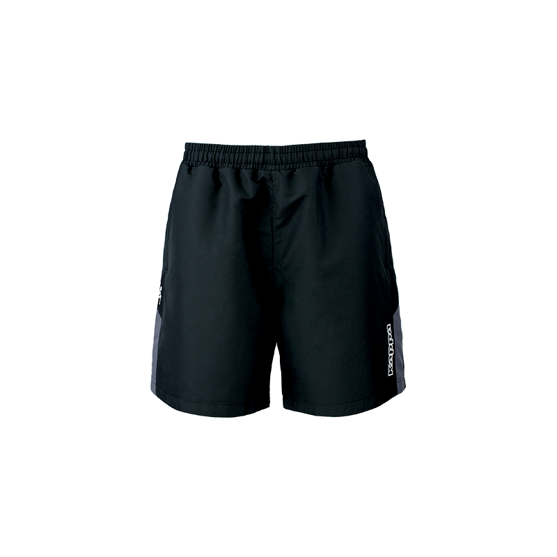 Kappa Passo short in black with grey contrast panel on the side of each leg