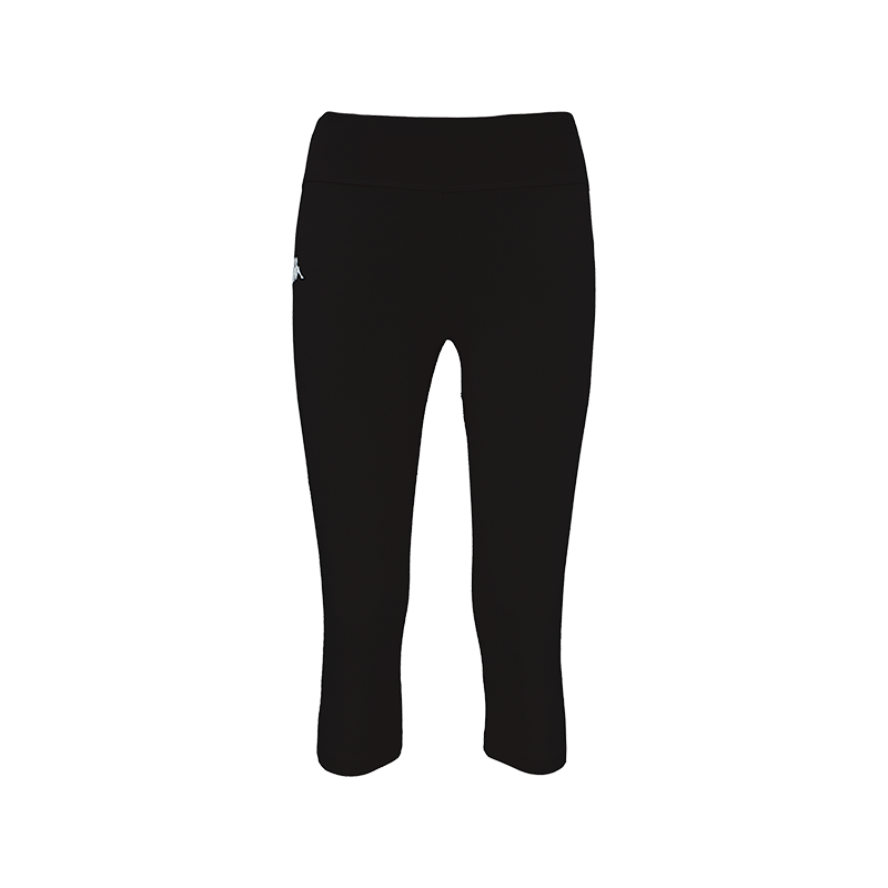 Kappa Patti Woman Pant is a 3/4 length black pant with white embroidered Omini on the right leg