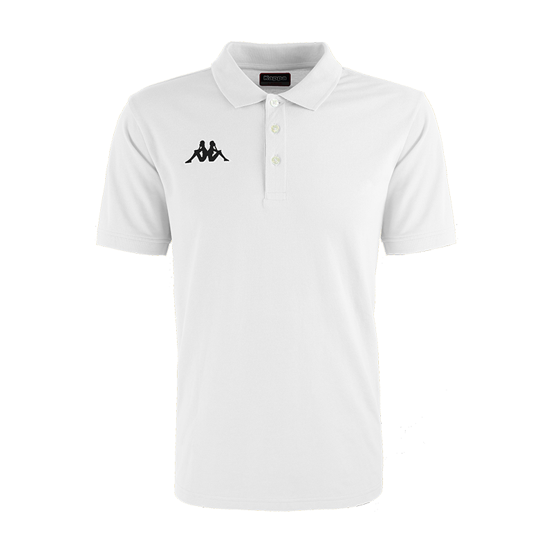 Kappa Peglio Polo in white with embroidered black Omini logo on the chest