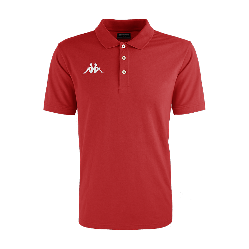 Kappa Peglio Polo in red with embroidered white Omini logo on the chest