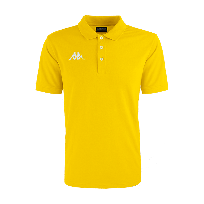 Kappa Peglio Polo in yellow with embroidered white Omini logo on the chest