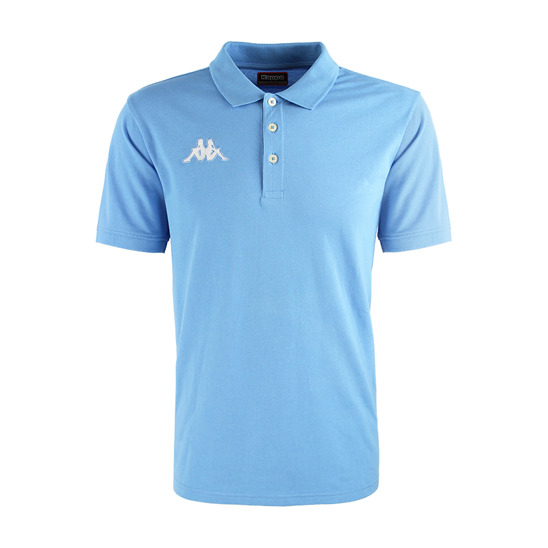 Kappa Peglio Polo in blue light (sky blue) with embroidered white Omini logo on the chest