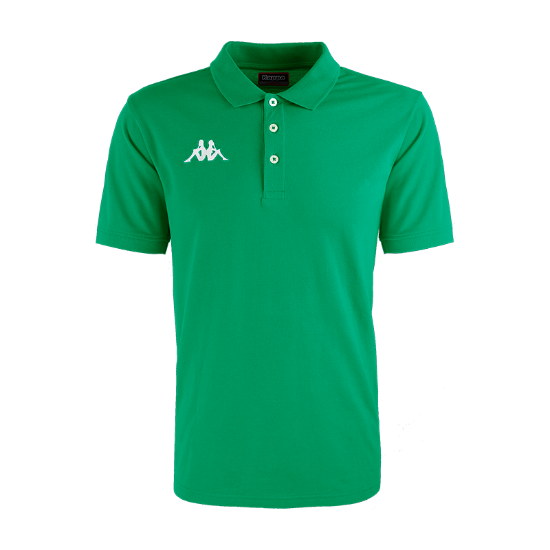 Kappa Peglio Polo in green with embroidered white Omini logo on the chest