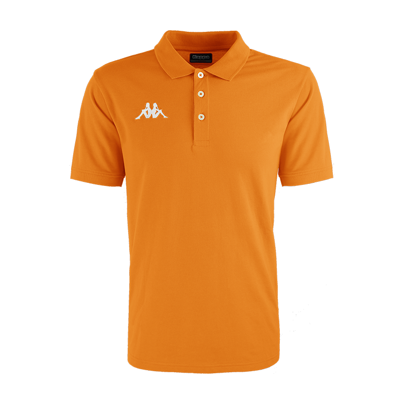 Kappa Peglio Polo in orange with embroidered white Omini logo on the chest